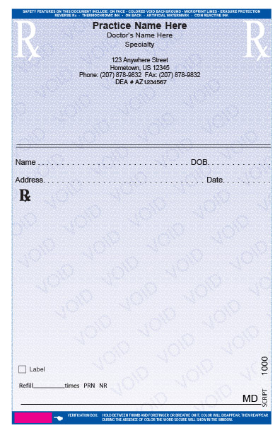 Secure Printed Prescription Pads